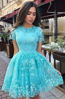 A Line Short Sleeve Lace Homecoming Dress, Charming Short Prom Dress with Short Sleeves P01774