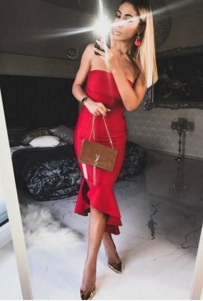 Sheath Red Strapless Homecoming Dresses With Ruffles Cocktail Dress P01777