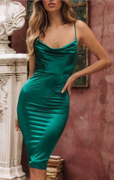Sexy Fitted Emerald Green Evening Dresses School Party Dress, Winter Formal Dress P01782