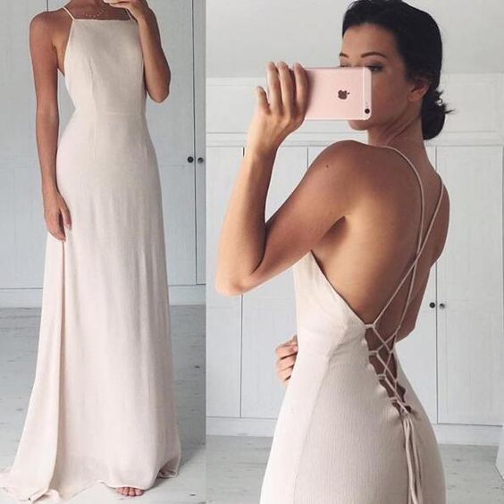 Ivory Tie Back Long Maxi Dress,Soft Chiffon Formal Dress P01800