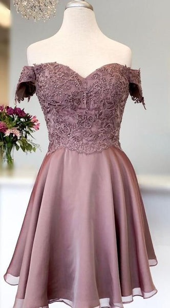 princess short prom dress off the shoulder, brown homecoming dress P01812