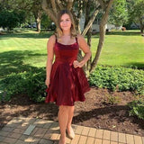 Gorgeous Short Burgundy Homecoming Dress P01821