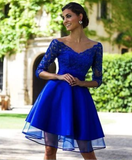A Line Homecoming Dresses V Neck 3/4 Length Sleeves With Applique Tulle P01825