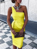 Yellow One Shoulder Ruched Bodycon Dress , Keen Length Homecoming Dress P01827