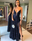 Long Prom Dresses, Beautiful navy blue Evening Party Dresses P01828