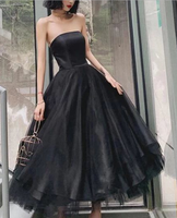 Black Strapless Tulle Homecoming Dress Puffy Ankle Length Formal Dresses P01832