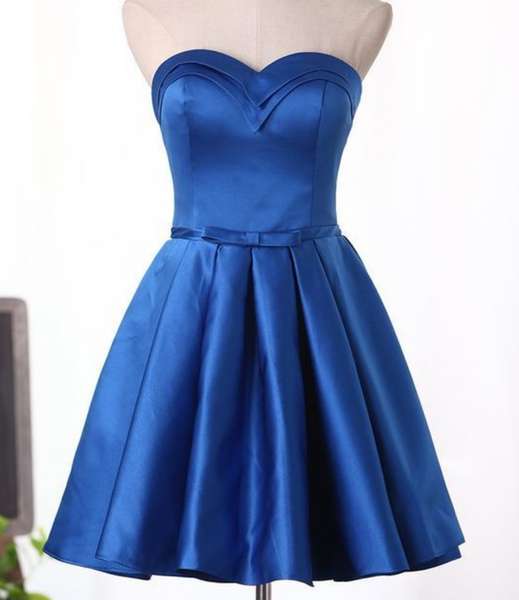 Sweetheart A Line Cocktail Dresses Satin With Sash P01836