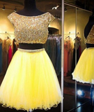 Yellow Two Piece Cap Sleeve Homecoming Dresses Beaded P01849