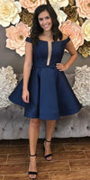 A Line Off The Shoulder Knee Length Navy Blue Homecoming Dress With Pleats P01864