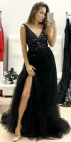 Charming Black V neck Tulle Evening Dress, Sexy Sleeveless Long Prom Dress P01869