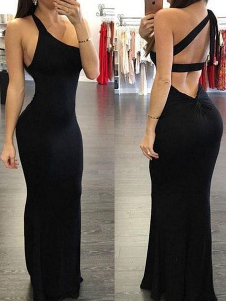 Sexy Black One Shoulder Mermaid Prom Dresses P01870