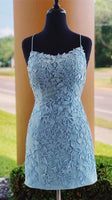 blue lace tight homecoming dress, short homecoming dress P01906