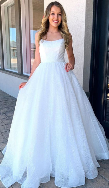 princess white long prom dresses, ball gown graduation party dresses, formal prom gowns P01913