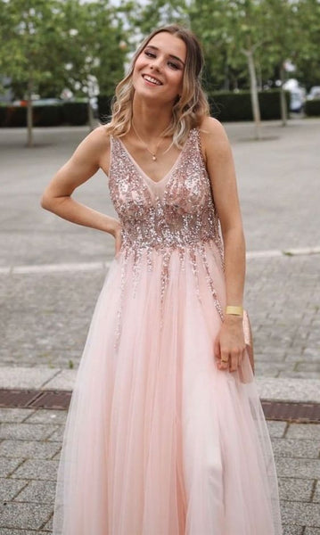 princess pink long prom dresses, chic a line prom gowns, a line prom dresses P01921