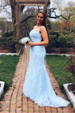 elegant mermaid light blue lace long prom dress formal dress P01922