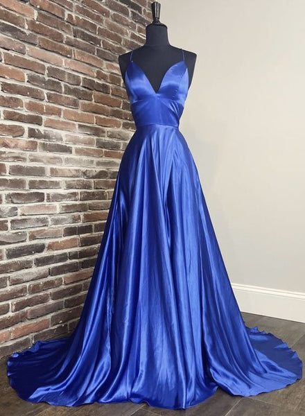 Blue satin long prom dress blue evening dress P01942