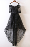 Prom Dresses Unique Black High Low Prom Dress Lace With Off Shoulder For Teens P02001