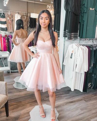 Straps Short Pink Homecoming Dress P038