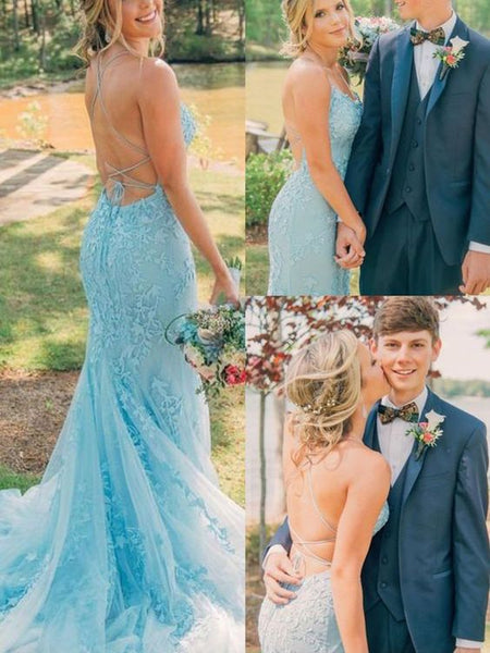 Stunning Mermaid Scoop Neck Cross Back Red Blue Daffodil Lace Prom Dresses.Girls Junior Graduation Gown P0704
