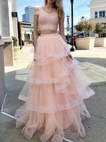 Gorgeous Two Piece V Neck Short Sleeve Light Pink Tulle Long Prom Dresses,Tiered Sweet 16 Party Dresses,Girls Junior Graduation Gown P0719