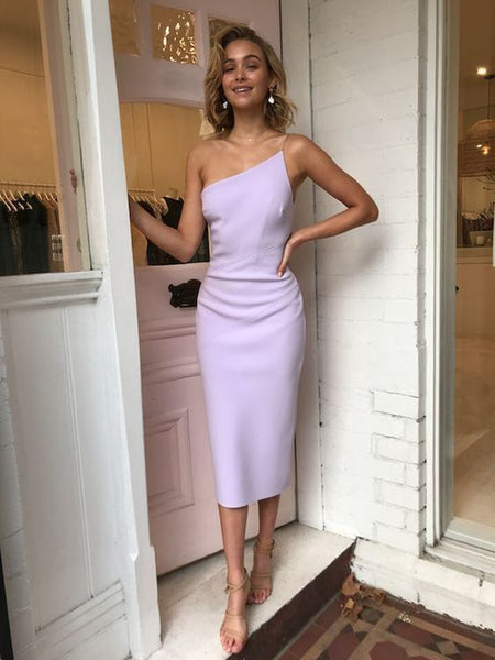 Stylish Sheath One Shoulder Lilac Elastic Satin Tea Length Prom Dresses,Wedding Guest Dresses,Evening Party Dresses P0723
