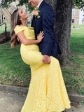 Charming Mermaid Two Piece Off the Shoulder Yellow Lace Long Prom Dresses,Formal Evening Party Dresses P0729