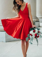 Simple A-Line V Neck Open Back Red Satin Short Prom Dresses Homecoming Dresses P0731