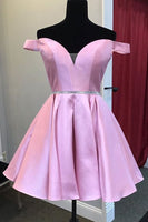 cute off the shoulder short pink homecoming dress wiht sequins sash P0734
