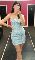 tight light sky blue homecoming dress, short homecoming dress cocktail dress P0735