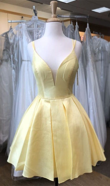 princess yellow homecoming dress short, yellow 16 dress P0740