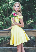 off the shoulder yellow homecoming dresses, two piece short homecoming dress P0743