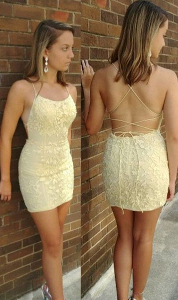 straps yellow homecoming dress tight, short yellow lace homecoming dress with lace up back P0748