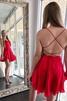 cross back short homecoming dress tight homecoming dress with lace up back P0751