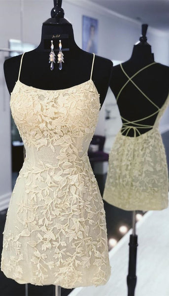 tight yellow lace homecoming dresses, short yellow homecoming dress with lace up back P0752