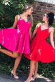 short homecoming dresses straps, hot pink homecoming dresses, red homecoming dress P0756