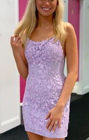 tight lavender homecoming dress, short homecoming dress P0761