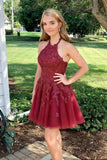 halter short burgundy homecoming dress birthday dress P0769