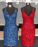 navy blue sequins homecoming dresses, v neck red homecoming dress cocktail dress P0774