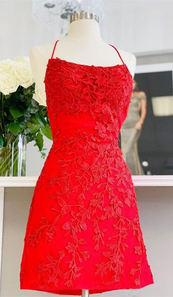 straps red lace homecoming dress short, tight homecoming dress dancing dress P0775