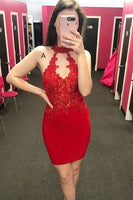 fitted red homecoming dress with key hole dancing dress P0776