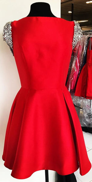 cute red homecoming dress with cap sleeves, short homecoming dress cocktail dress P0779