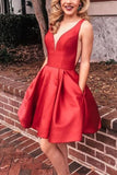 short red homecoming dress prom dress,cheap prom dress P0785