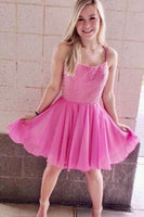 short pink prom dress homecoming dress with bdeaded bodice dress P0786