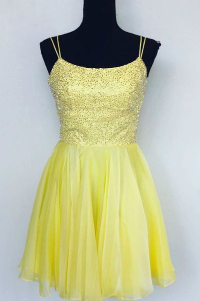 yellow homecoming dress with double straps, short homecoming dress p0787