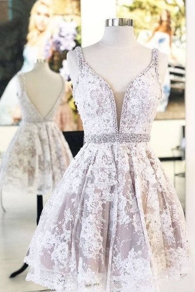 A-line Short White Lace Prom Dress Homecoming Dress P0790