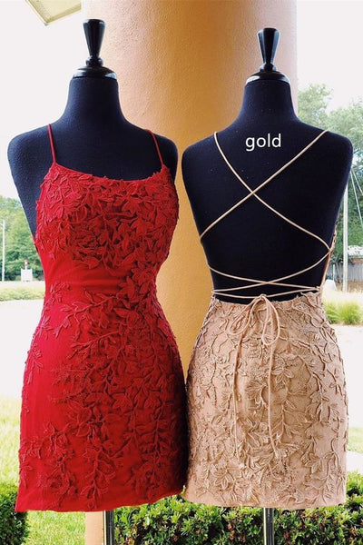 Cute Short Red Homecoming Dress with Lace Up Back P0798