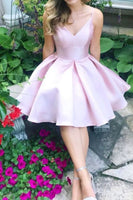 cheap price pink homecoming dress, short satin pink homecoming dress P0799