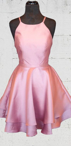 simple short homecoming dress with lace up back pink homecoming dress P0800