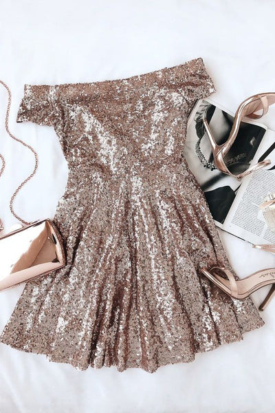 short gold sequins dress with off the shoulder Homecoming Dress P0801