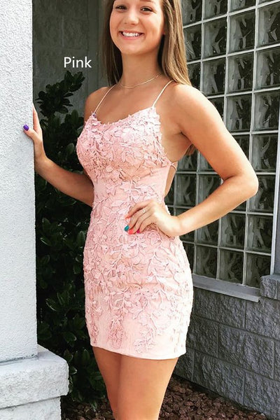 short pink lace homecoming dress tight Homecoming Dress P0803